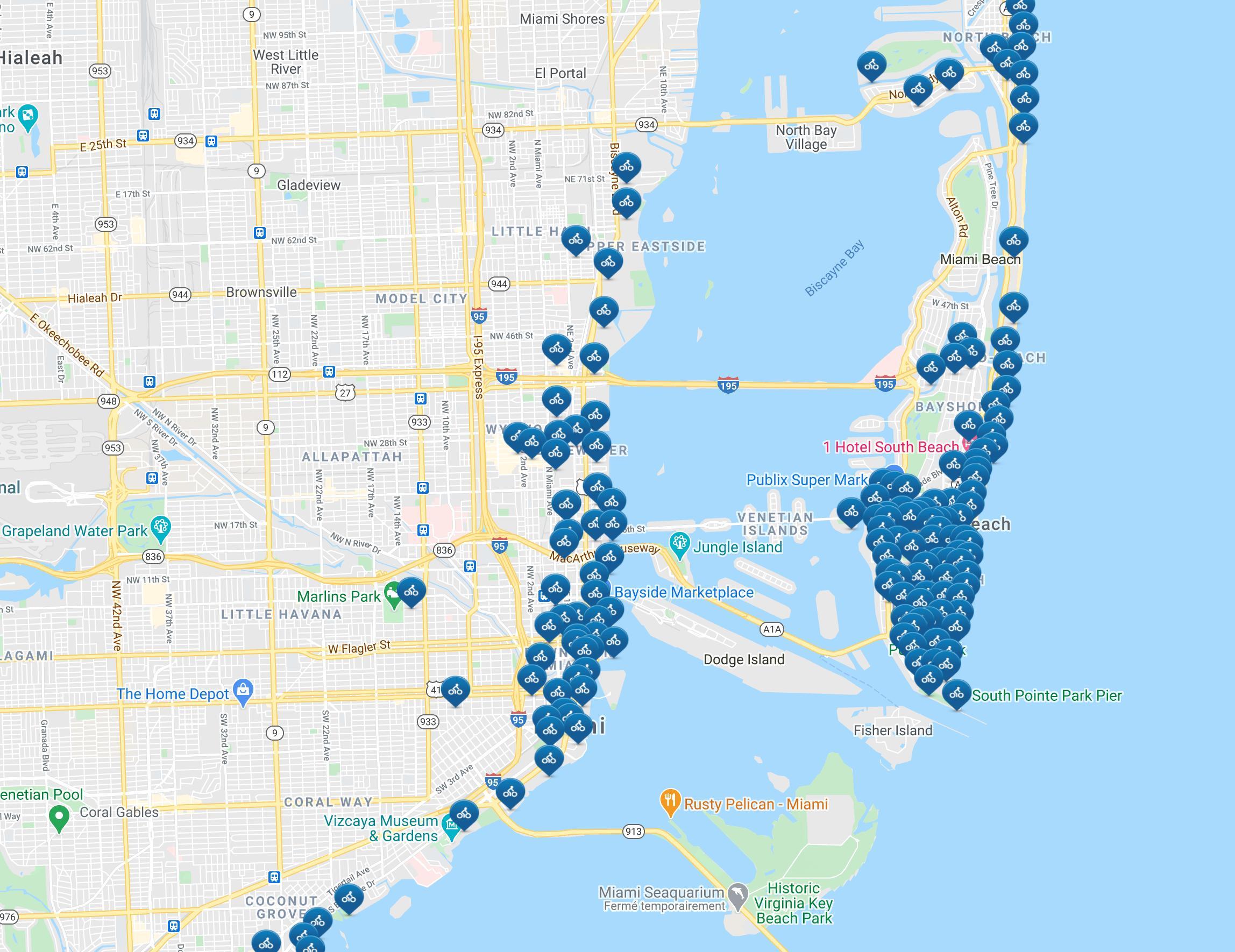 laste ned kart Citi sykkel Miami kart   Miami citi sykkel kart (Florida   USA) laste ned kart